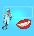 dentist and white smile teeth mouth hygiene vector image