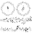 Floral endless pattern brush made of different vector image vector image