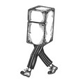 fridge walks on its feet sketch engraving vector image vector image
