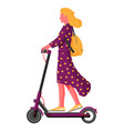 girl with backpack rolling on electric scooter vector image