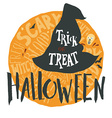 Halloween grunge emblem with a witch hat vector image vector image