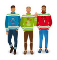 handsome men in christmas sweaters vector image vector image