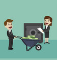 happy businessman goes with a wheelbarrow full of vector image vector image