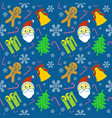 happy christmas pattern blue vector image