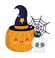happy halloween funny pumpkin with hat skull vector image vector image