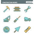 Icons line set premium quality of construction vector image vector image