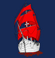 marine ship with scarlet sails frigate fabulous vector image