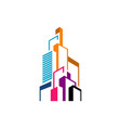 modern colorful realty skyline building logo vector image
