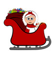mrs claus on a christmas sledge vector image vector image