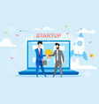 new startup deal people shaking hands each other vector image