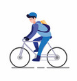 newspaper boy or courier bike man ride bicycle vector image vector image