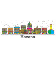 outline havana cuba city skyline with color vector image