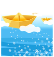 Paper boat water vector image vector image