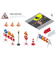 road repair under construction road signs flat vector image vector image