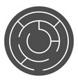 round labyrinth solid icon circle maze vector image