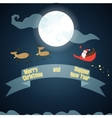 Santa Claus flies through the sky on the moon vector image vector image