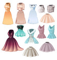 Set of elegant womens dresses and skirts isolated