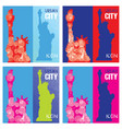 set of four abstract silhouettes of statue of vector image