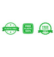 set plastic free green badges with ribbon eco vector image vector image