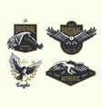 set vintage logo with eagle vector image vector image