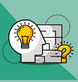 silhouette man idea creativity question solution vector image vector image