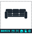 sofa icon flat vector image vector image