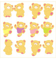 teddy bear in different pose background vector image vector image