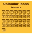 The calendar icon February symbol Flat vector image
