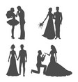 wedding silhouette black picture bride and vector image