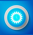 white clock gear icon isolated on blue background vector image vector image