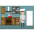 Young man cooking in kitchen at home vector image vector image