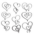 set of flourish calligraphy vintage hearts vector image
