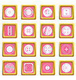 clothes button icons pink vector image