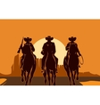 Cowboys riding horses in desert vector image
