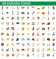 100 eurasia icons set cartoon style vector image vector image
