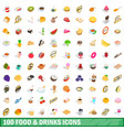 100 food and drinks icons set isometric 3d style vector image