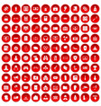 100 hacking icons set red vector image vector image