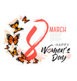 8th march with beautiful butterflies vector image