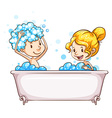 A girl and a boy at the bathtub vector image vector image