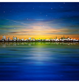 abstract night background with golden sunset in vector image vector image