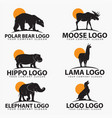 animal silhouettes logo vector image vector image