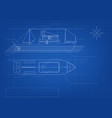 blueprint cargo ship on blue background vector image vector image