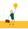 businessman jump with idea lamp vector image vector image