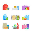 cartoon color school lunch food boxes set vector image