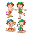 children sea vacation girls and boys vector image vector image