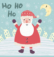christmas card with santa claus saying ho ho ho vector image