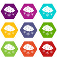 clouds and snow icon set color hexahedron vector image vector image