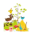 Colorful Funny Cartoon Farm Domestic Animals vector image vector image