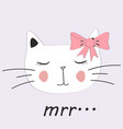 cute cat little kitty with glasses bow vector image vector image