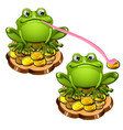 cute green frog with a long pink tongue stole a vector image